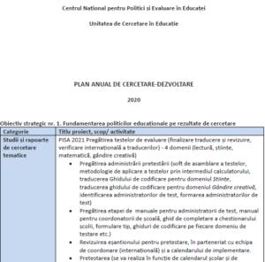 Plan anual de cercetare-dezvoltare 2020