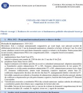 Planul anual de cercetare 2021